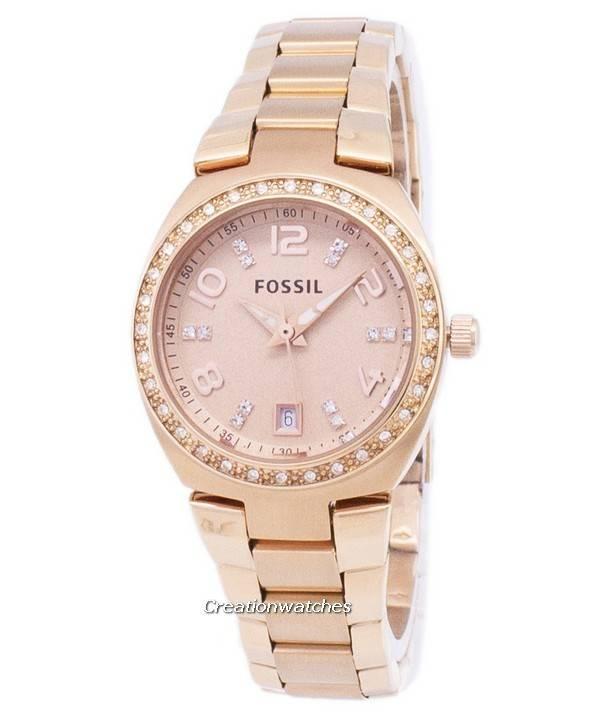 Damenuhren fossil rosegold  Fossil Serena Crystals Rose Gold-Ton Edelstahl AM4508 Damenuhr de