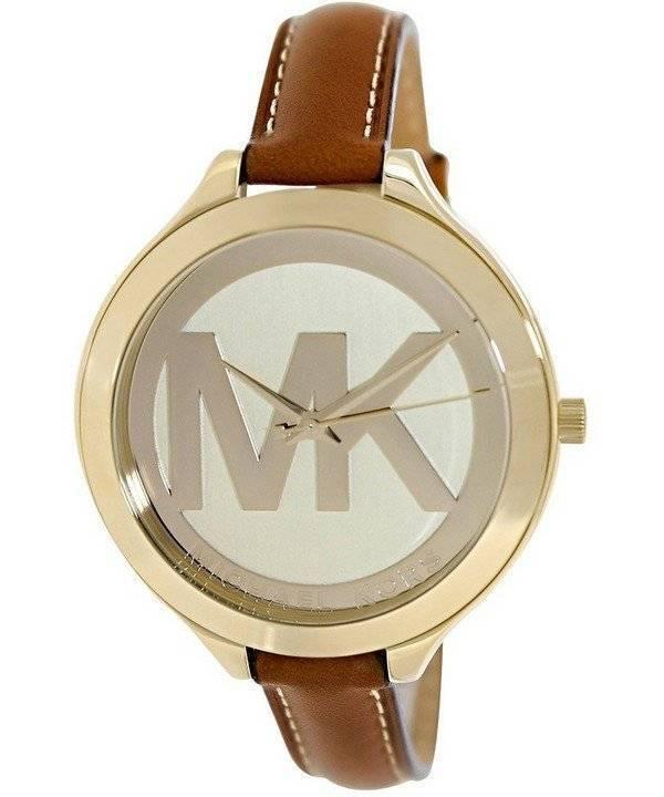 Damenuhren michael kors leder  Michael Kors Runway Champagne Zifferblatt mit MK Logo MK2326 ...
