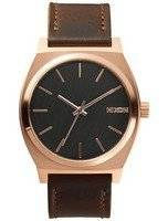 Nixon Time Teller Rose Gold Brown Leather A045-2001-00 Men's Watch