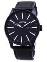 Nixon Quartz Sentry Black Leather A105-005-00 Men's Watch
