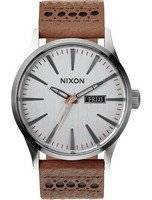 Nixon Quartz Sentry Leather Silver Dial A105-1752-00 Men's Watch