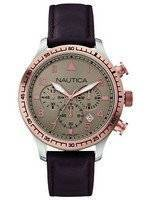 Nautica Chronograph Grey Dial Brown Leather Strap A17656G Men's Watch