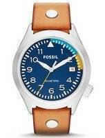 Fossil Aeroflite 100M Three-Hand Date Tan Leather AM4554 Men's Watch