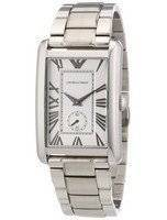 Emporio Armani Classic Rectangle Shape Silver Tone AR1607 Men's Watch