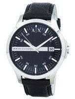 Relógio Armani Exchange mostrador preto couro Strap AX2101 masculino