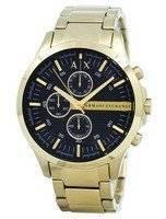 Armani Exchange Quartz Gold-Tone Chronograph Black Dial AX2137 Men's Watch