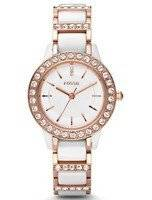 Fossil Jesse Crystallized White Ceramic Rose Gold Tone CE1041 Women's Watch