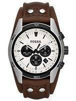 Fossil Coachman Chronograph White Dial Brown Leather CH2890 Men's Watch