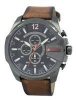 Diesel Mega Chief Black Dial Brown Leather DZ4343 Men's Watch