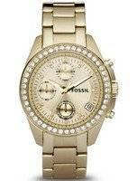 Fossil Decker Chronograph Crystals Gold-Tone ES2683 Women's Watch