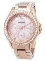 Fossil Riley Multifunction Crystal Rose Gold ES2811 Women's Watch