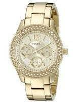 Fossil Stella Multi-Function Crystals Champagne Dial Gold-Tone ES3589 Women's Watch