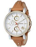 Fossil Original Boyfriend Chronograph Tan Leather Quartz ES3615 Women's Watch