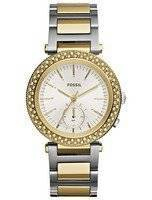 Fossil Urban Traveler Multifunction Silver Dial Two-tone Stainless Steel ES3850 Women's Watch