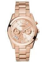 Fossil Perfect Boyfriend Multifunction Rose-Tone Stainless Steel ES3885 Women's Watch