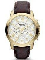 Fossil Grant Chronograph Brown Croco-Embossed Leather Strap FS4767 Men's Watch