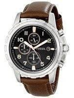 Fossil Dean Quartz Chronograph Black Dial Brown Leather FS4828 Men's Watch