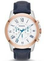 Fossil Grant Chronograph Navy Blue Leather FS4930 Men's Watch