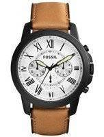 Fossil Grant White Dial Chronograph Brown Leather FS5087 Men's Watch
