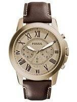 Fossil Grant Chronograph Gold-Tone Dial Brown Leather FS5107 Men's Watch