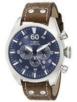 Invicta Aviator Chronograph Blue Dial Dark Brown Leather 19668 Men's Watch