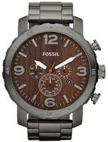 Fossil Nate Chronograph Quartz Smoke Stainless Steel JR1355 Men's Watch