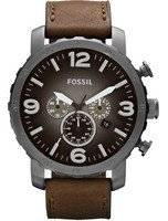 Fossil Nate Chronograph Quartz Brown Leather Strap JR1424 Men's Watch