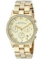 Marc By Marc Jacobs Henry Chronograph Crystals Gold Dial MBM3105 Women's Watch