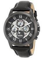 Fossil Grant Automatic Black Skeleton Dial Black Leather ME3028 Men's Watch