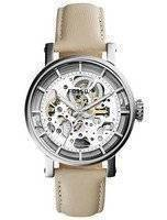 Fossil Original Boyfriend Automatic Skeleton Dial Beige Leather ME3069 Women's Watch