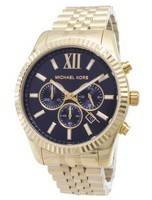 Michael Kors Lexington Chronograph Black Dial Gold-tone MK8286 Men's Watch