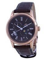 Relógio oriental clássico de sol e lua marrom com mostrador automático RA-AK0009T10B masculino