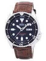 Relógio rácio couro marrom SKX007J1-LS7 200M masculino do Seiko Automatic Diver