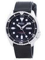 Relógio rácio couro preto SKX007J1-LS8 200M masculino do Seiko Automatic Diver