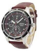 Seiko Chronograph Brown Leather Strap 100M SNDF45 SNDF45P1 SNDF45P Men's Watch