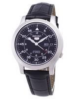 Seiko 5 militar SNK809K2-SS1 relógio de homens de pulseira de couro preto automático