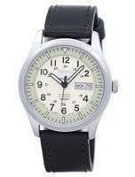 Seiko 5 Sports militar automático Japão fez relógio relação couro preto SNZG07J1-LS8 masculino