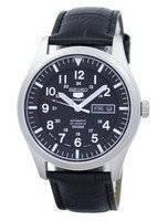 Seiko 5 Sports automático Japão fez relógio relação couro preto SNZG15J1-LS6 masculino