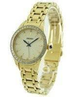 Seiko Gold Tone Quartz Swarovski Crystals SRZ386P Women's Watch