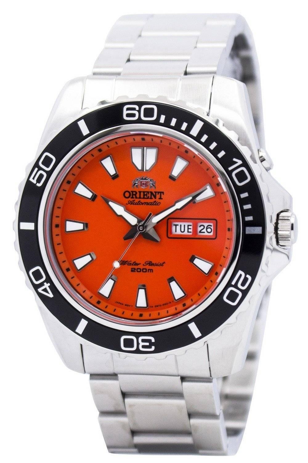 Orient mako automatic diver cem75001m men 39 s orange dial watch ebay - Orange dive watch ...