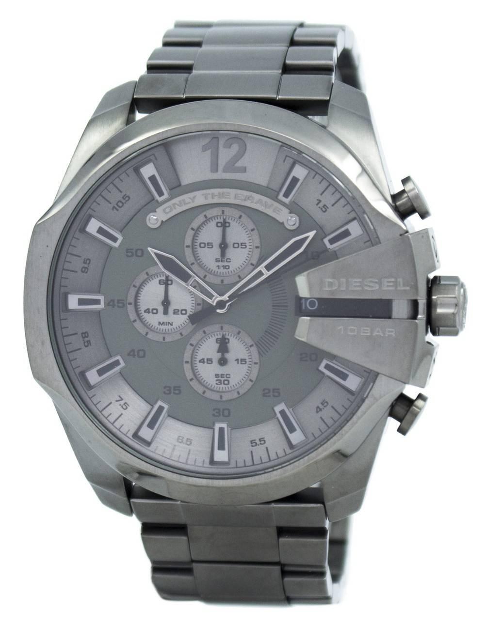 3f52cf52b687 Diesel Mega Chief Quartz Chronograph Grey Dial Black IP DZ4282 Men s Watch