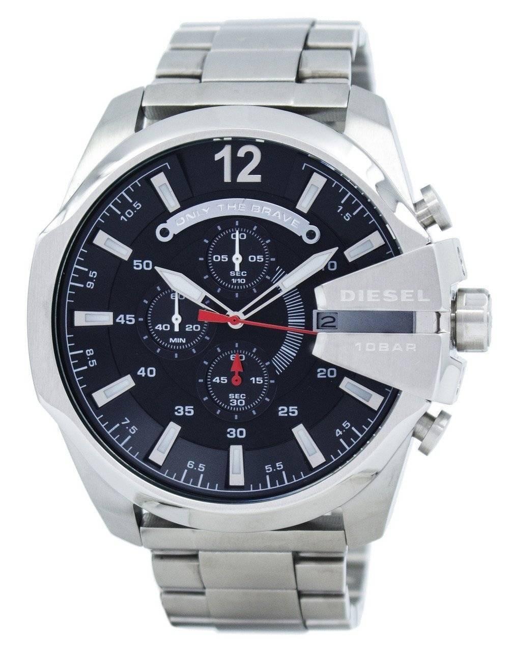7c33cd9ed546 Diesel Mega Chief Cuarzo Cronógrafo Negro Dial DZ4308 Reloj para hombre