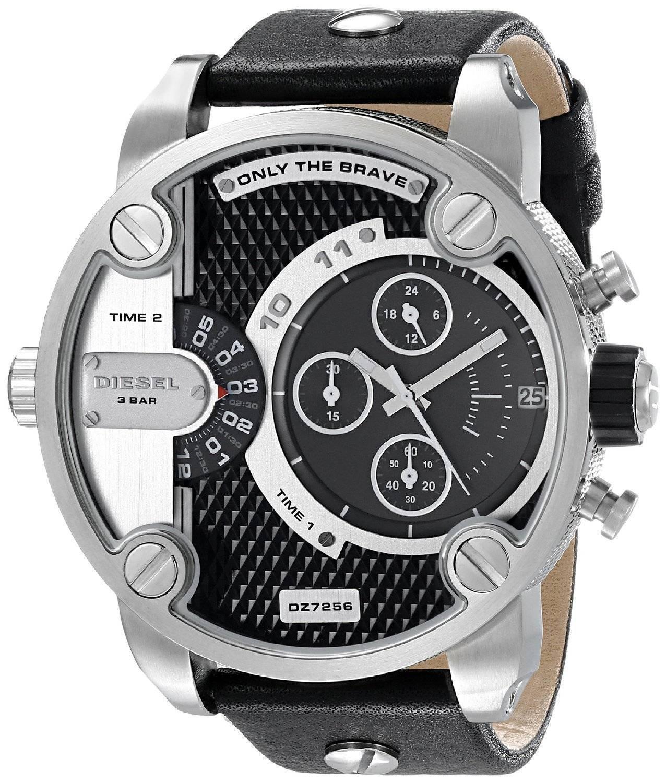 4c1c4f2685f6 Diesel pequeño Daddy Cronógrafo hora Dual Dial negro DZ7256 Watch de Men es