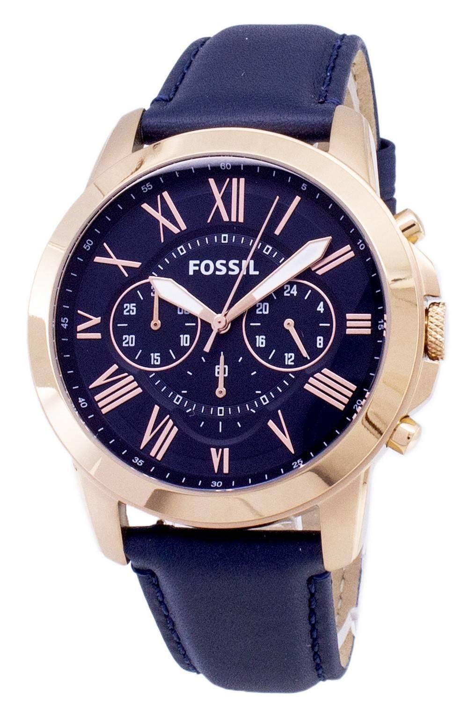 Détails Bleu Fs4835 Pour Sur Montre Chronograph Grant Cuir Fossil En Bracelet Homme w0nkPO8