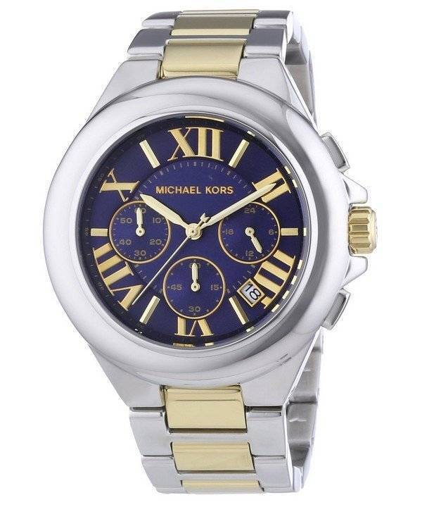 6fb945dd4efd Michael Kors Camille Blue Dial Two Tone Chronograph MK5758 Ladies Watch
