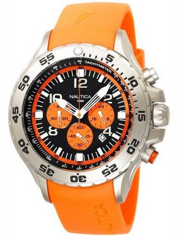 1f51be813b2 Relógio laranja Nautica NST Chronograph N14538G masculino pt