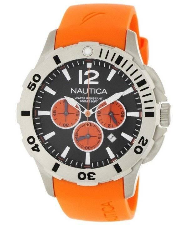 e411b092af2 Nautica cronógrafo resina laranja e preto N16567G masculino mostrador do  relógio