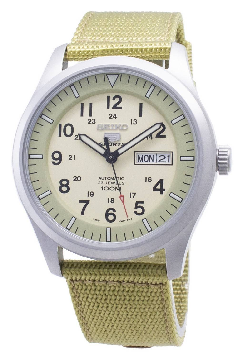 b08655915 Details about Seiko 5 Sports Automatic SNZG07K1 SNZG07K Military Nylon  Strap Mens Watch