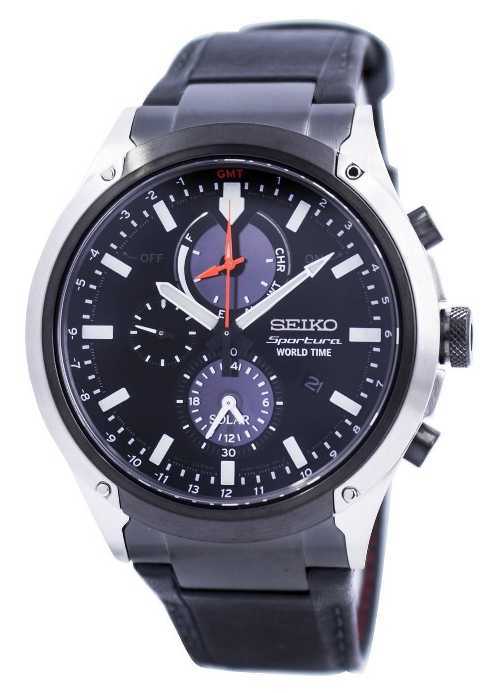 b0988a369a7 Relógio Seiko Sportura mundo tempo Solar Chronograph SSC483 SSC483P1  SSC483P masculino pt