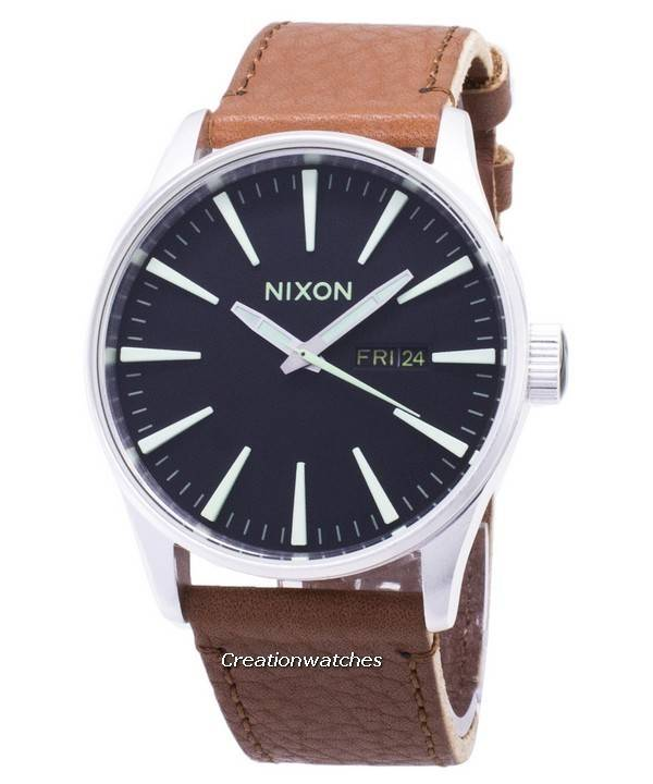 Nixon Quartz Sentry Brown Leather A105-1037-00 Men's Watch - Click Image to Close